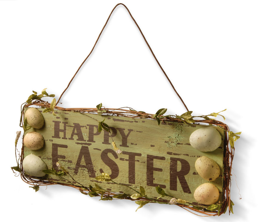 Rustic style Happy Easter door hanger with eggs.