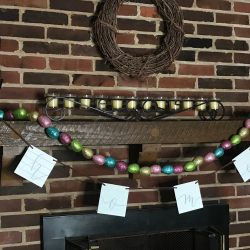 Easter egg garland for fireplace mantel decor.