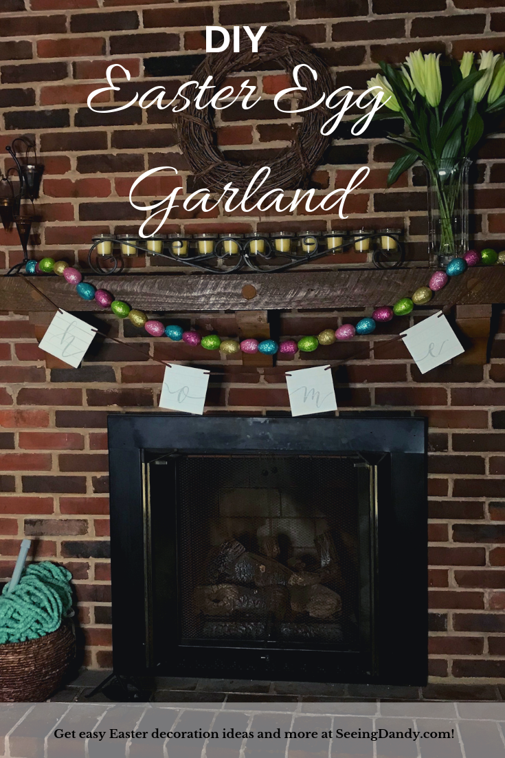 Easy DIY Easter egg garland. Farmhouse style fireplace with white lilies.