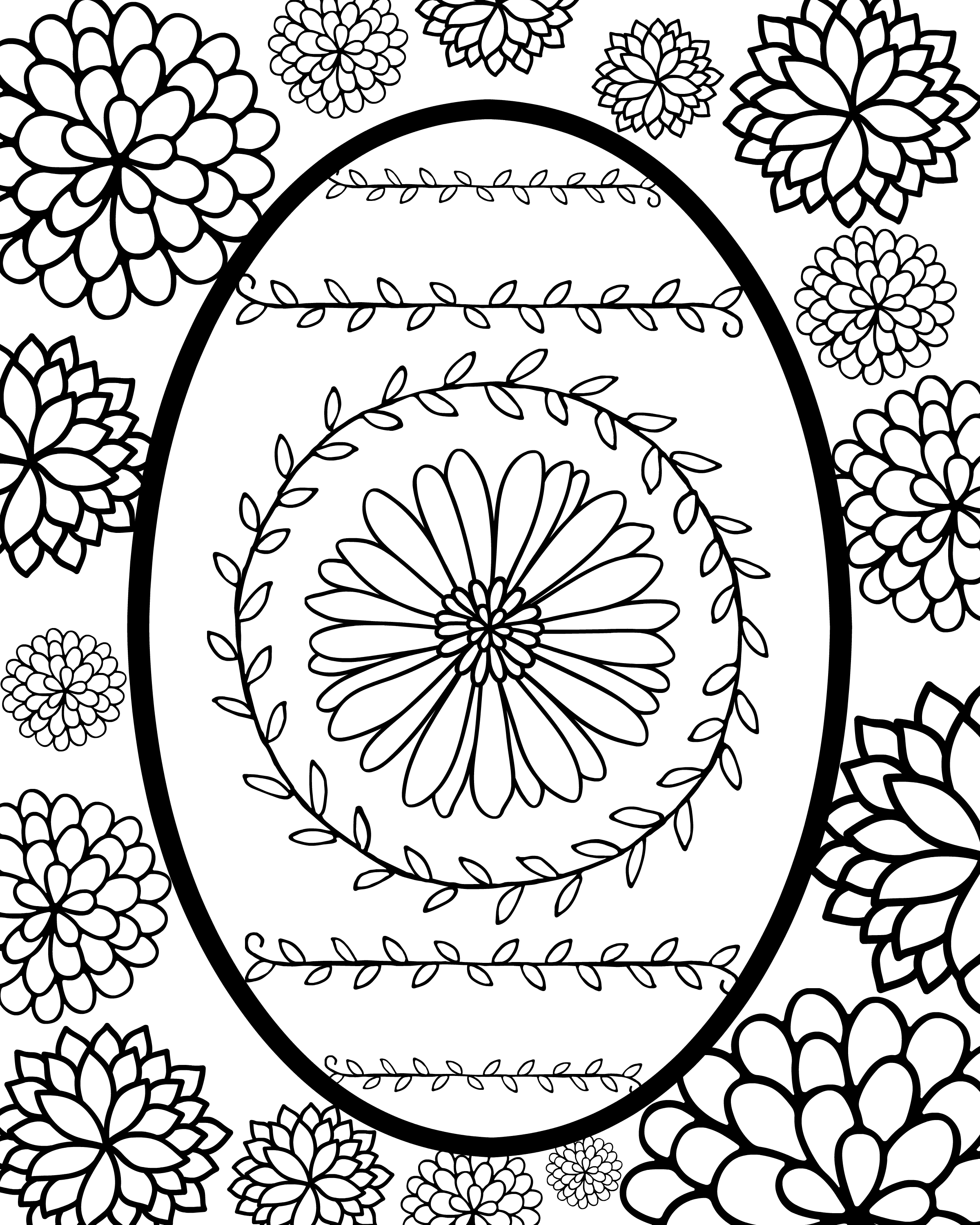 DIY Faberge egg style Easter egg printable coloring page.