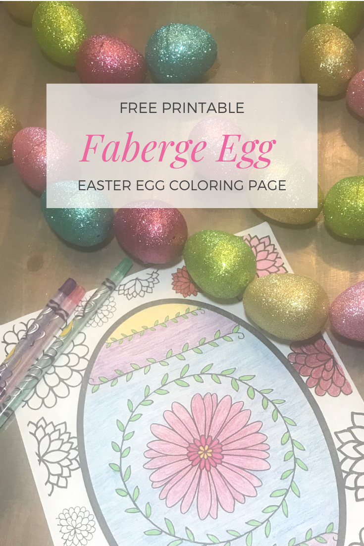 Easy to make Faberge egg printable coloring page.