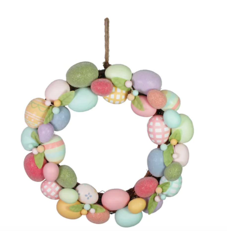 Farmhouse style Easter egg wreath.