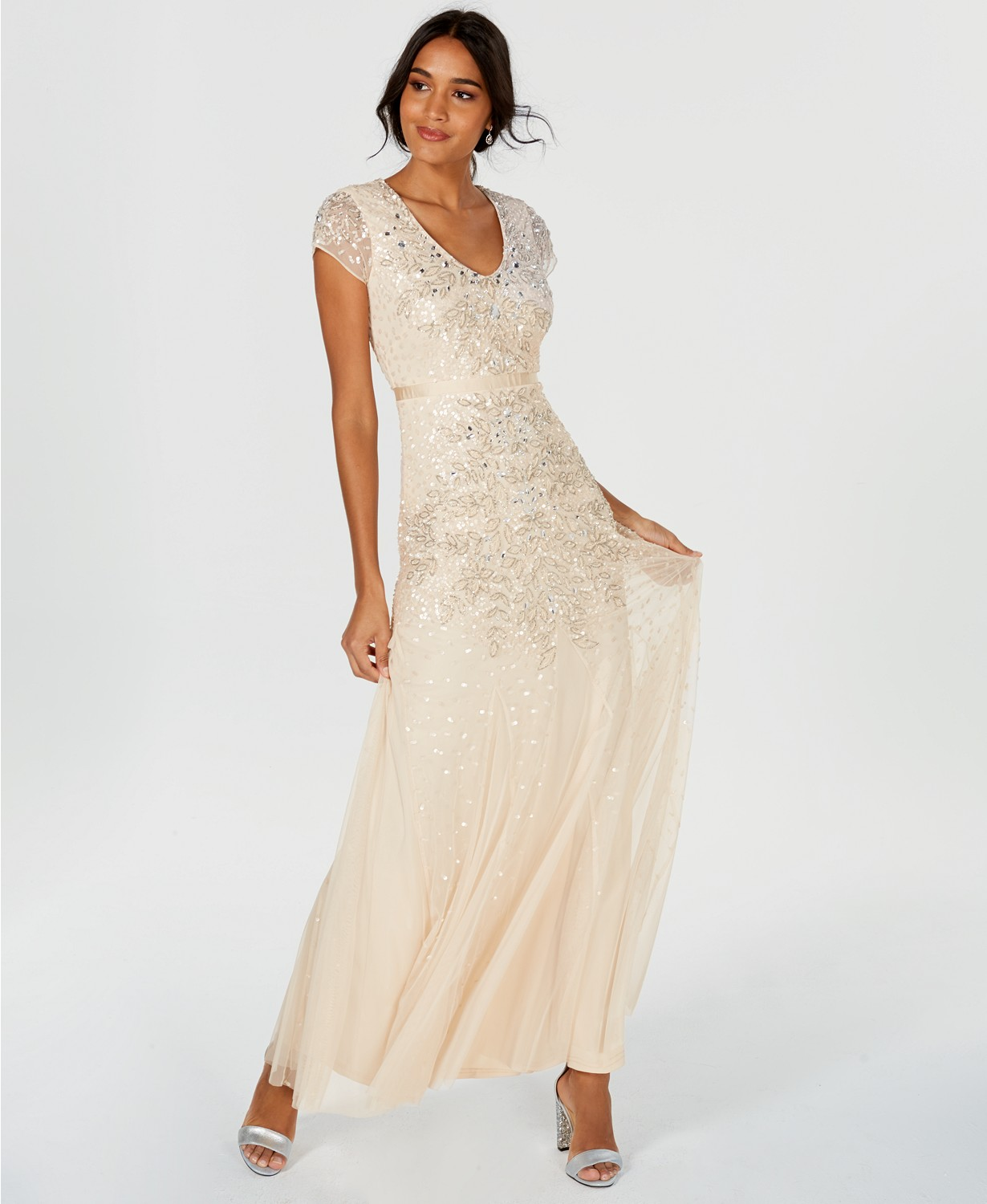 Gorgeous sequined and beaded Adrianna Papell modest prom dress.