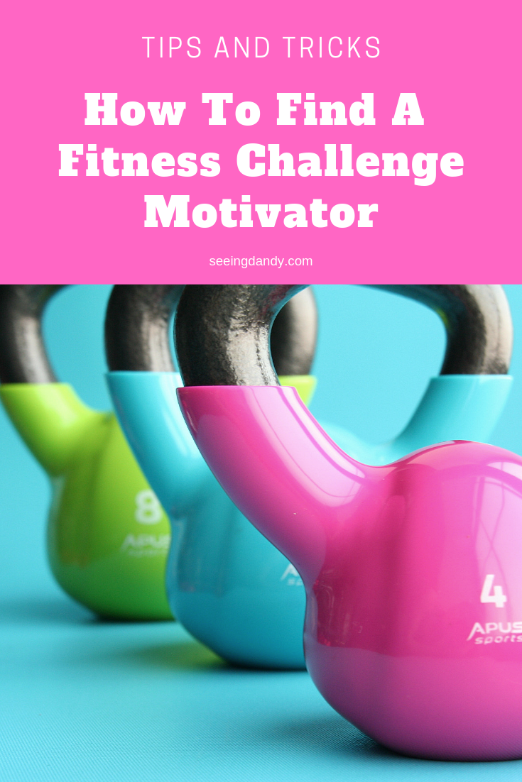 Easy tips and tricks for how to find a fitness challenge motivator. Kettle bell weights in pink, blue and green.