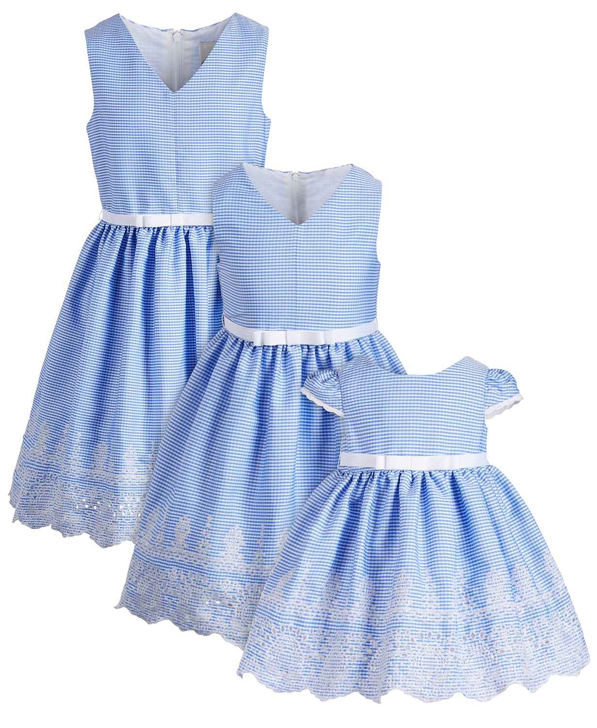 Matching blue gingham sisters Easter dresses.