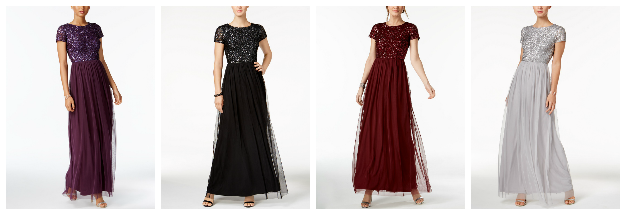 Purple, black, red wine and silver modest prom dresses with sequins from Adrianna Papell.
