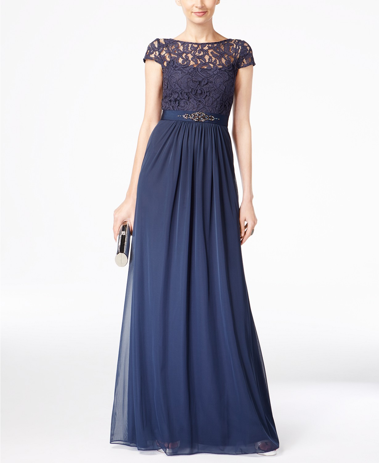 Adrianna Papell midnight blue formal gown with illusion lace and elegant accents.