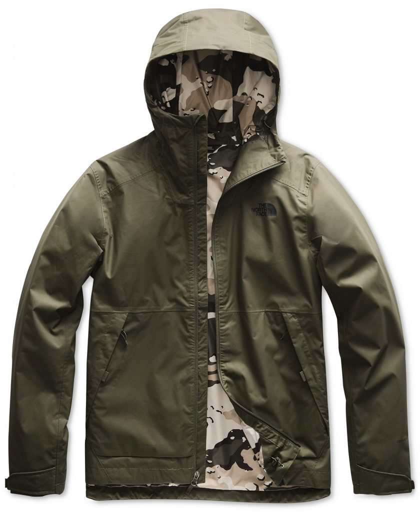 Taupe and green men's The North Face jacket.