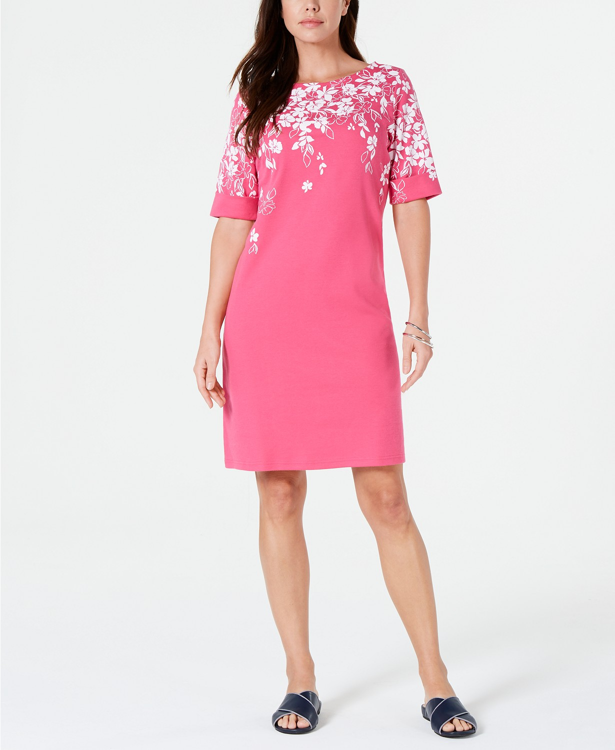 Pink and floral Karen Scott dress for spring.