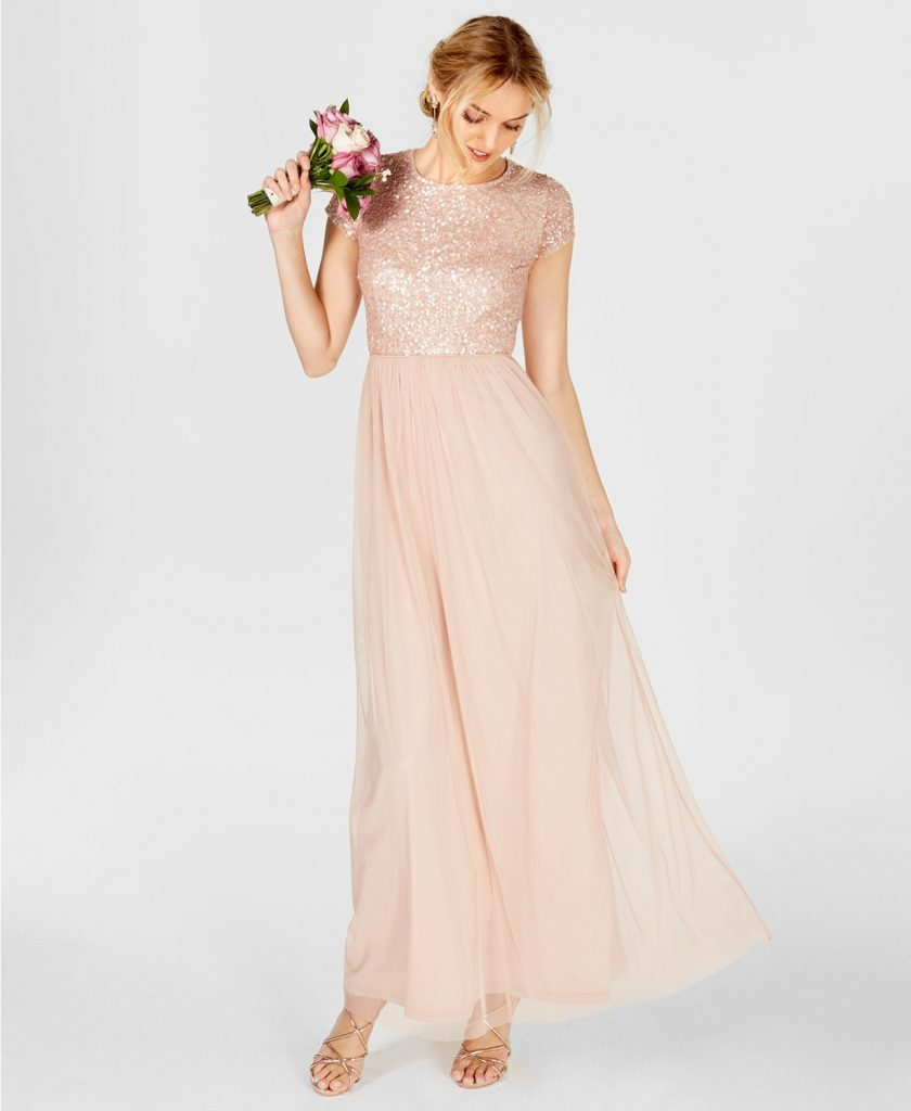 Adrianna Papell dress with sequins in blush.