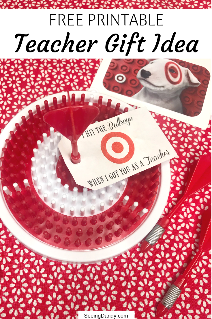Easy to make teacher gift idea. Free printable bullseye gift tag on a dartboard with a Target gift card.