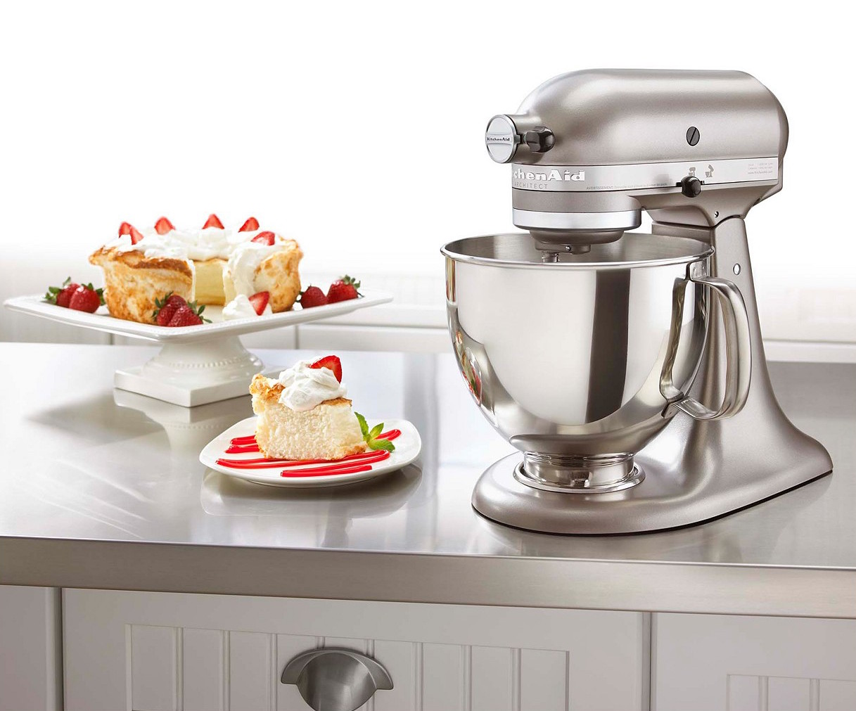 Cocoa Silver KitchenAid mixer with strawberry shortcake.