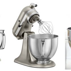 KitchenAid mixers in red, light green and silver.