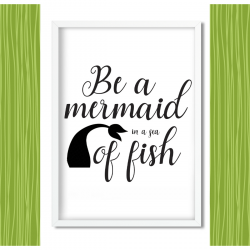 Mermaid printable wall art for mermaid themed girl's room.