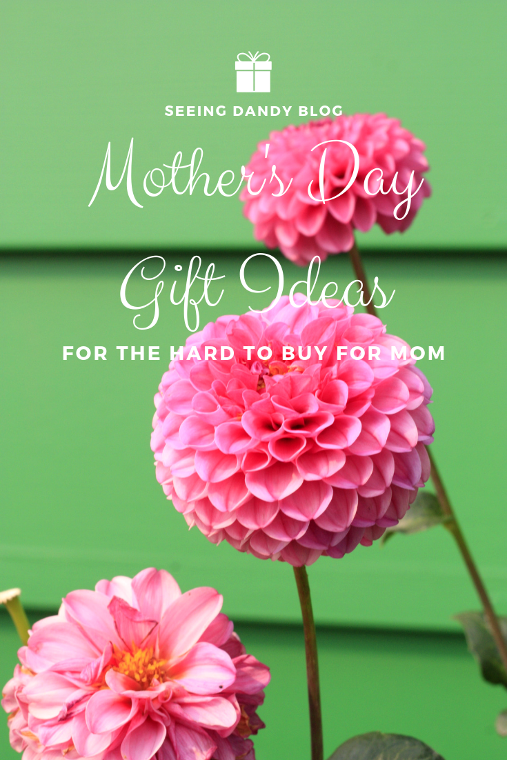 Mothers Day gift ideas for the hard to buy for mom. Pink flowers with green wall.