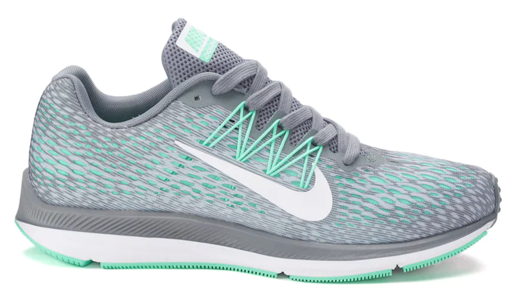 Nike running shoes in teal and gray.
