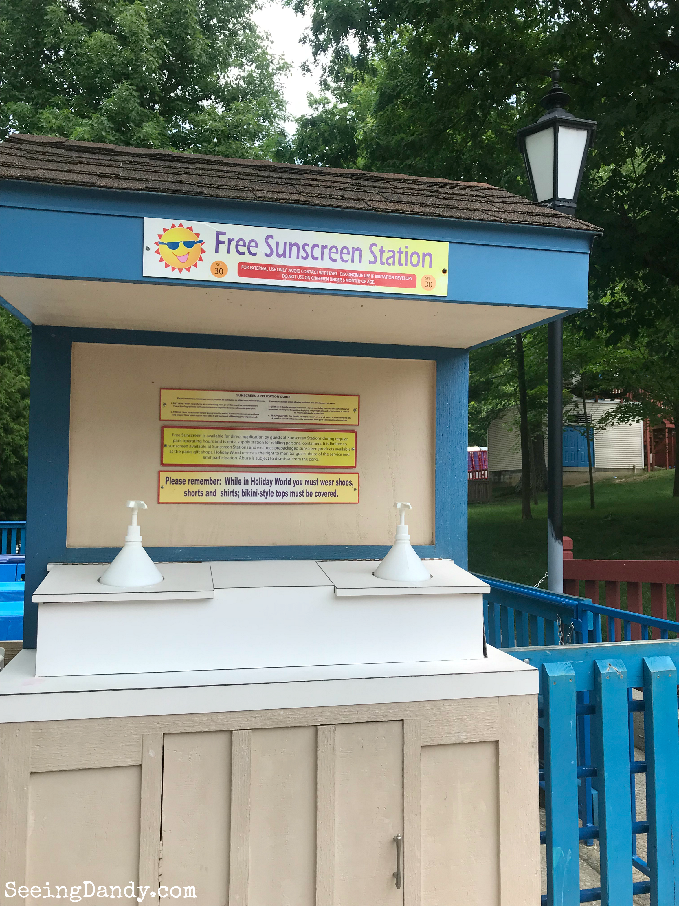 Free sunscreen station.