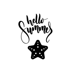 Hand lettered Hello Summer with black and white starfish.