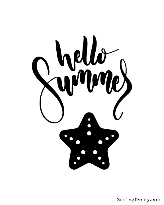 Printable Hello Summer wall art for home decorating.