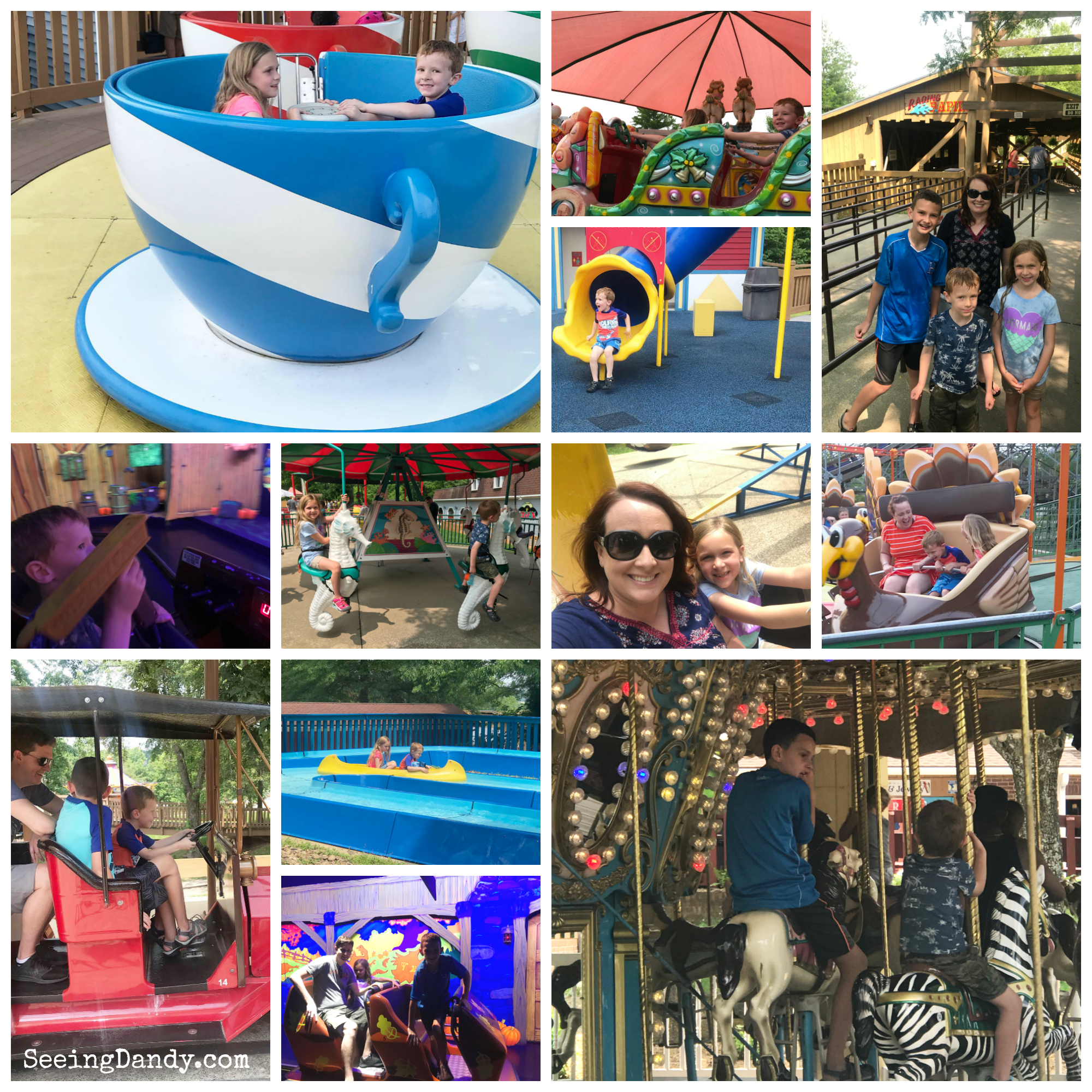 Multigenerational travel theme park rides in Santa Claus, Indiana.