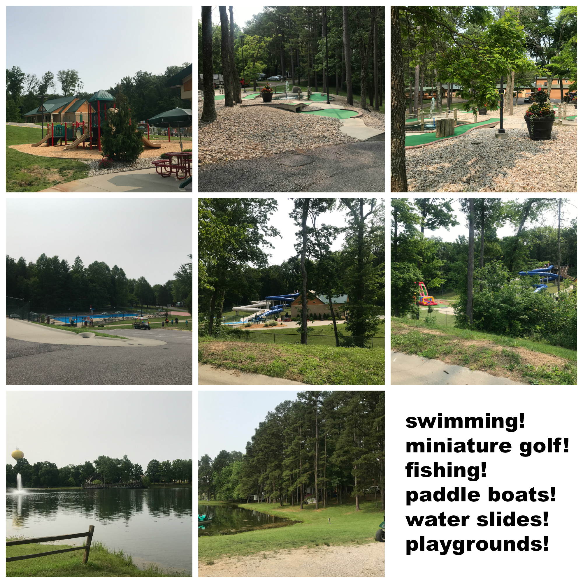 Lake Rudolph activities. Swimming pool, miniature golf, fishing, paddle boats, water slides, and playgrounds.
