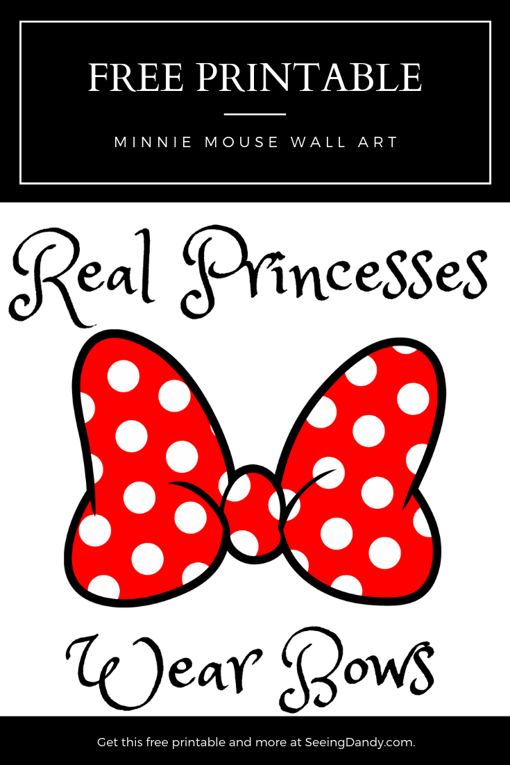 picture relating to Printable Minnie Mouse Bow called Absolutely free Minnie Mouse Bow Printable Wall Artwork - Looking at Dandy
