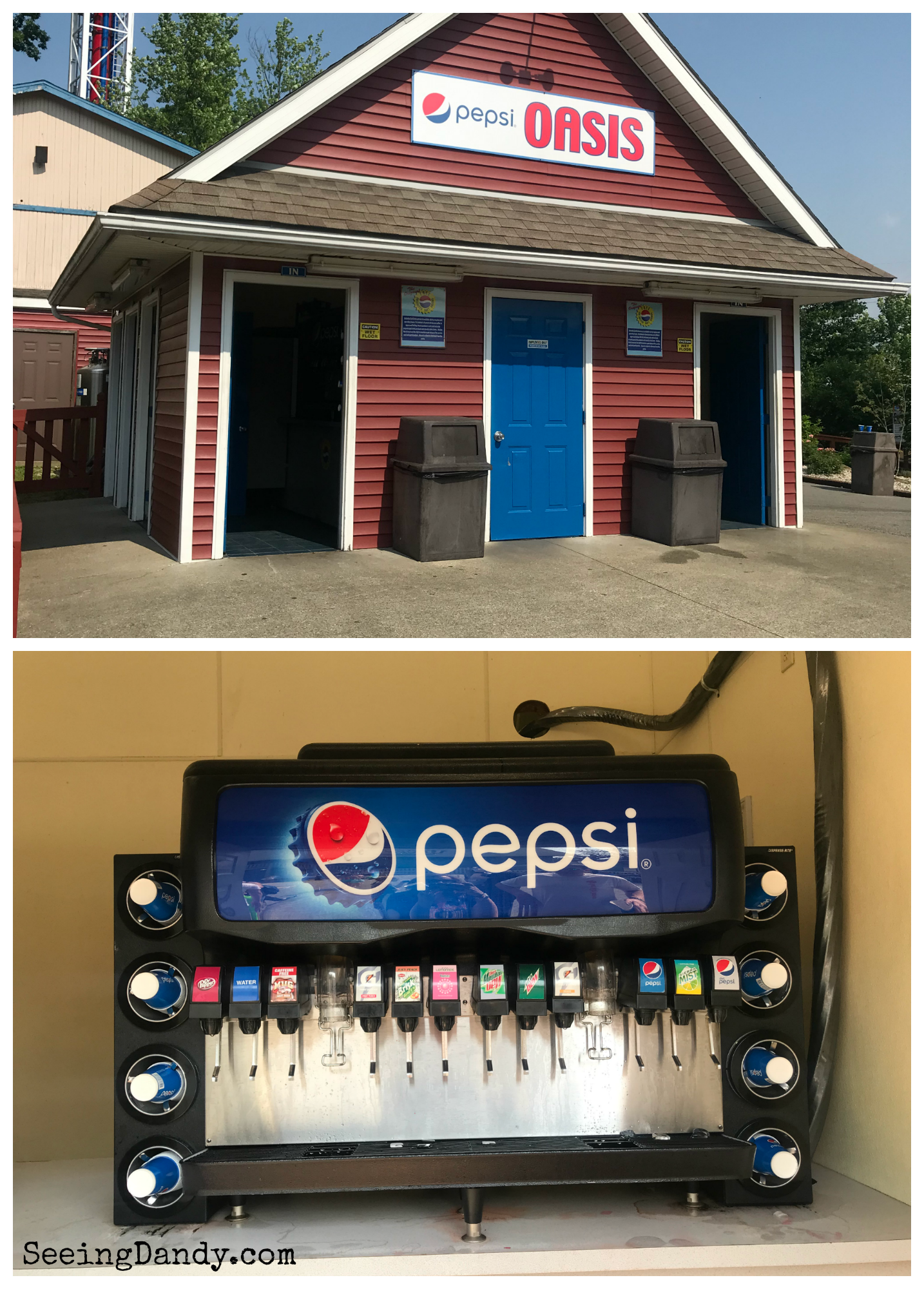 Holiday World Pepsi Oasis free soft drinks.