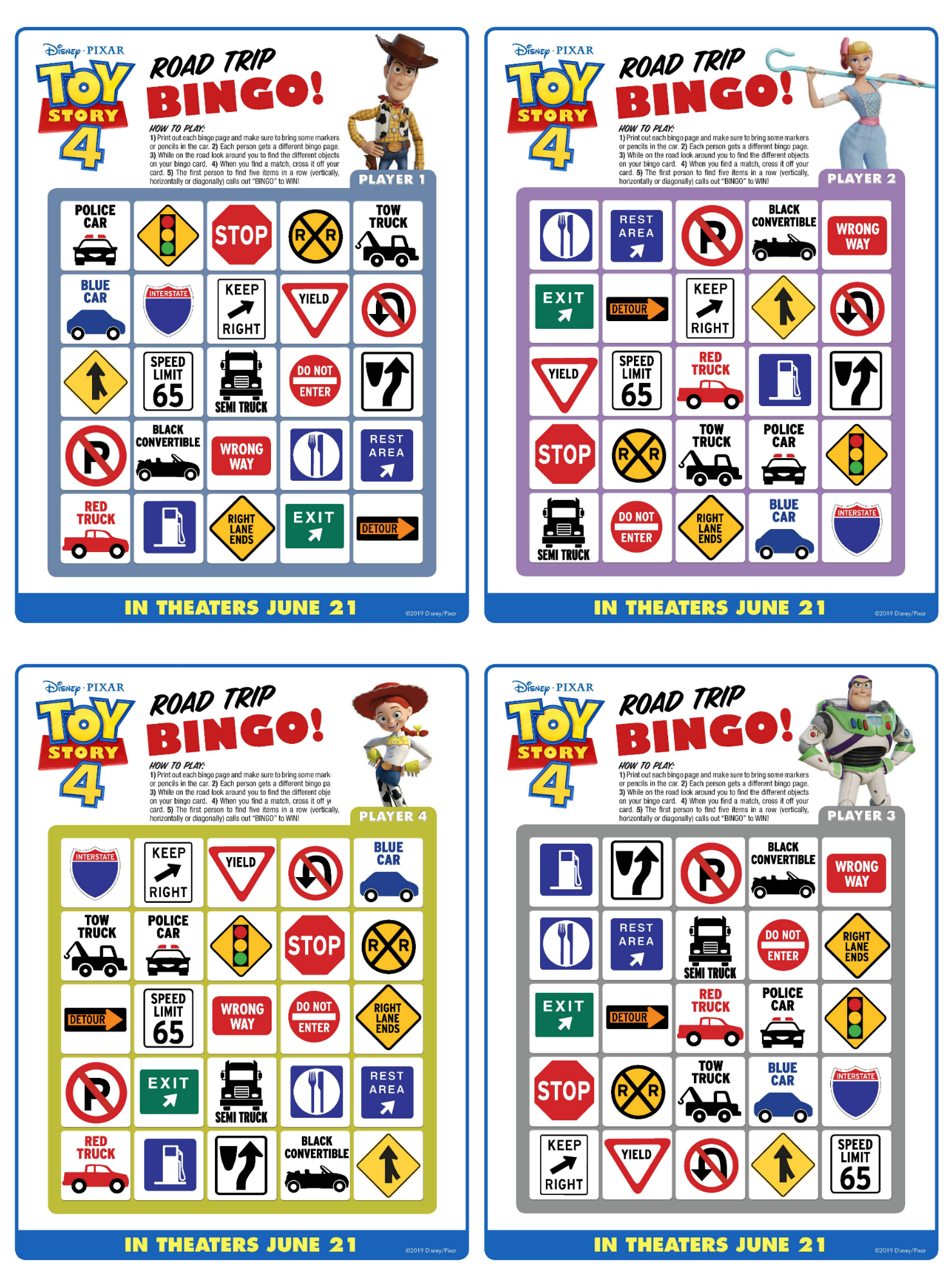 image regarding Disney Bingo Printable named Toy Tale 4 Printable Highway Vacation Bingo For Household Trip