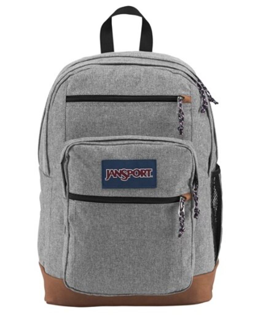 Gray JanSport backpack.