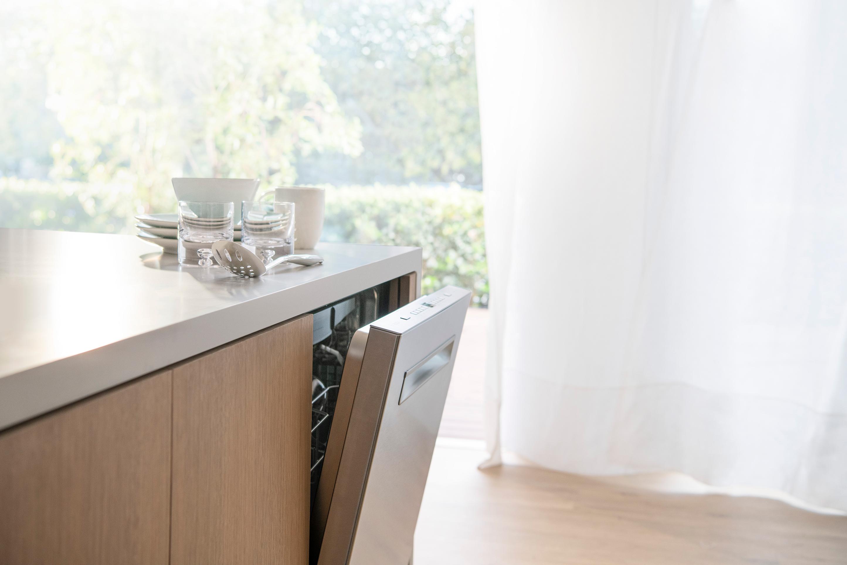 Modern kitchen with Bosch dishwasher.