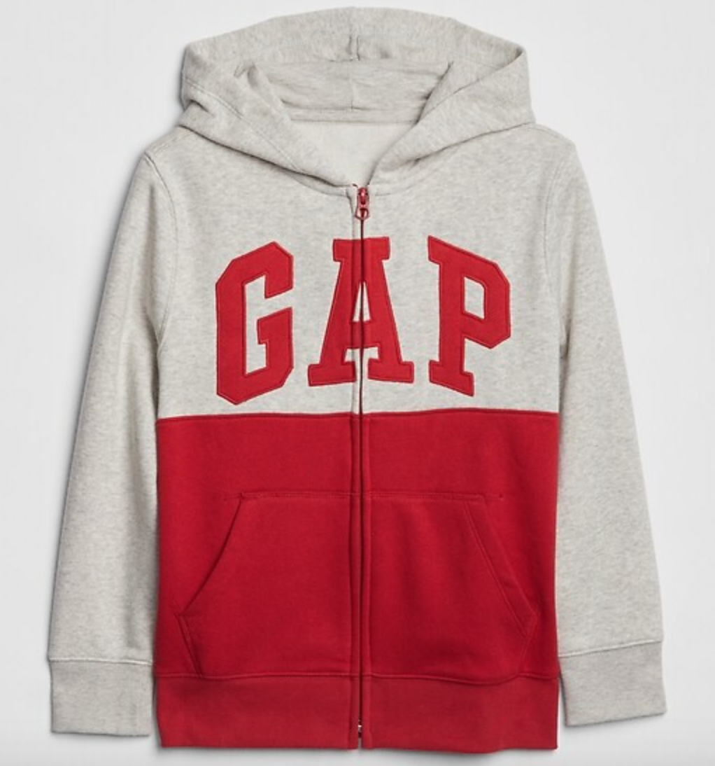 Red and gray GAP hoodie back to school shopping. Zip up sweatshirt with hood.