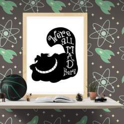Free Printable Cheshire Cat Silhouette Wall Art