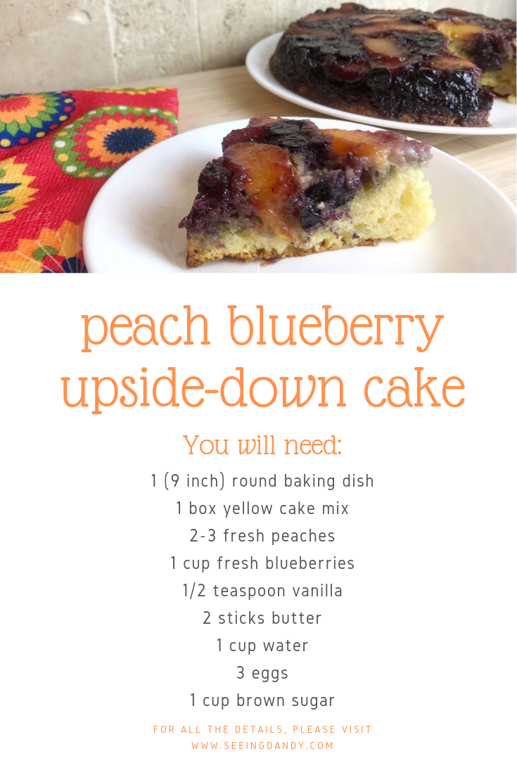 Easy to make and delicious peach blueberry upside down cake recipe.