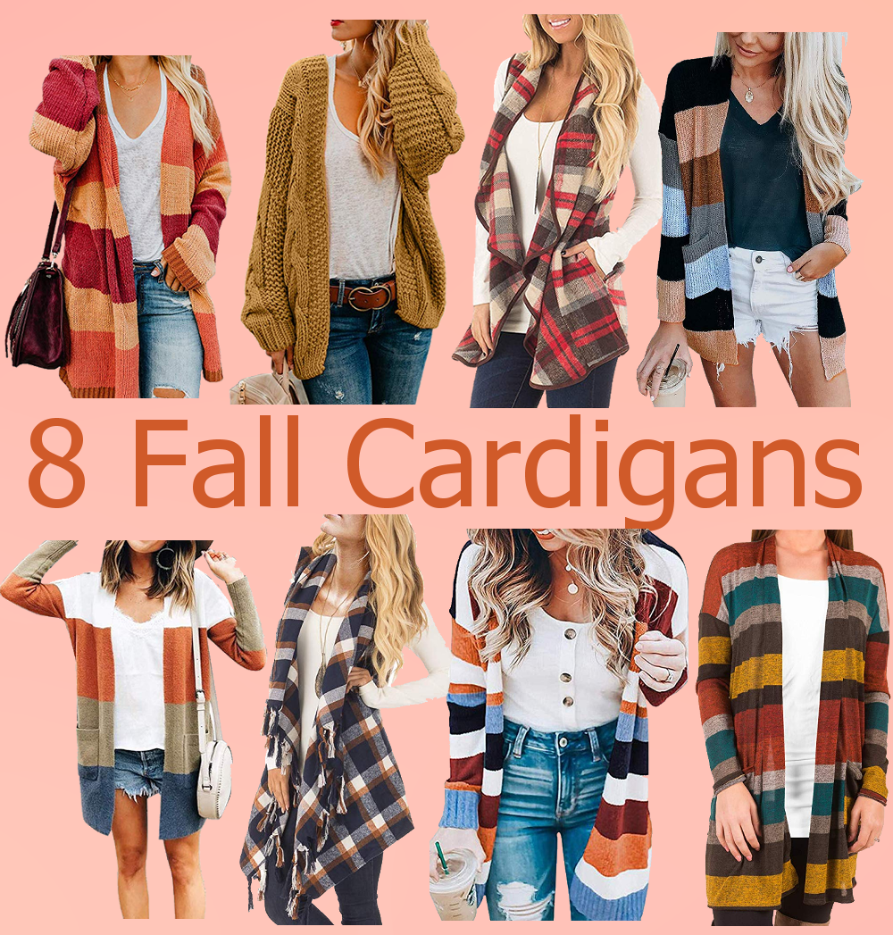 Warm and cozy fall cardigans in brown, red, orange and blues.