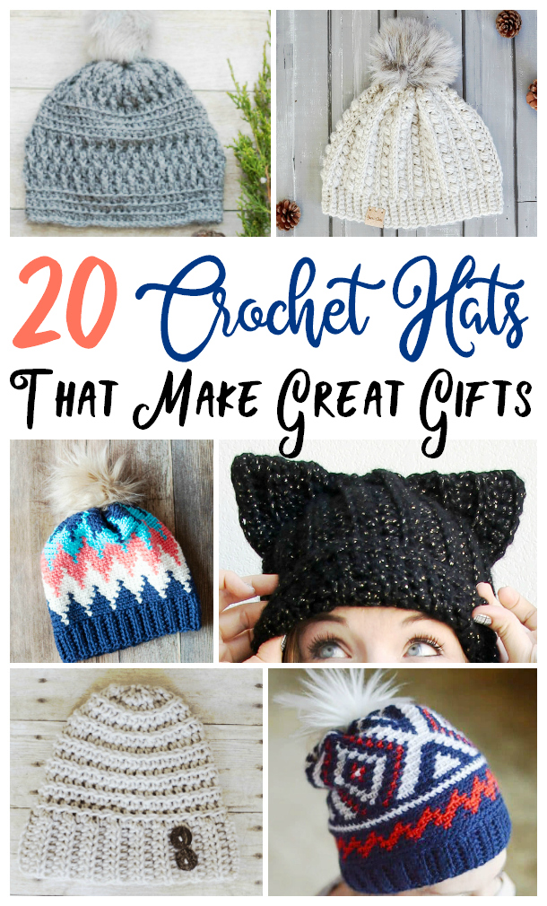 Easy to make DIY crochet hats that are perfect for gifts.
