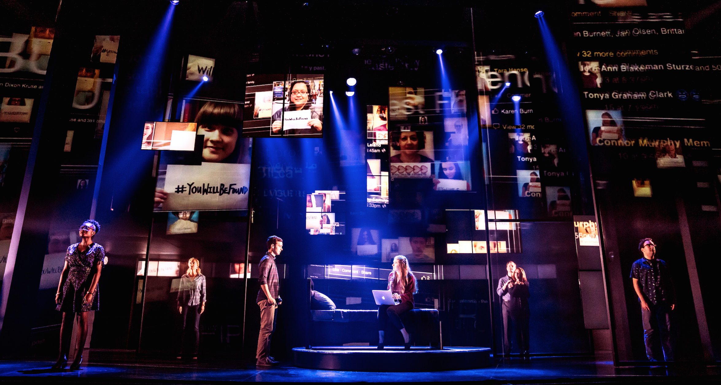 Stephen Christopher Anthony and the cast of Dear Evan Hansen on the North American tour.