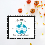Chevron Teal Pumpkin Printable Sign For Halloween