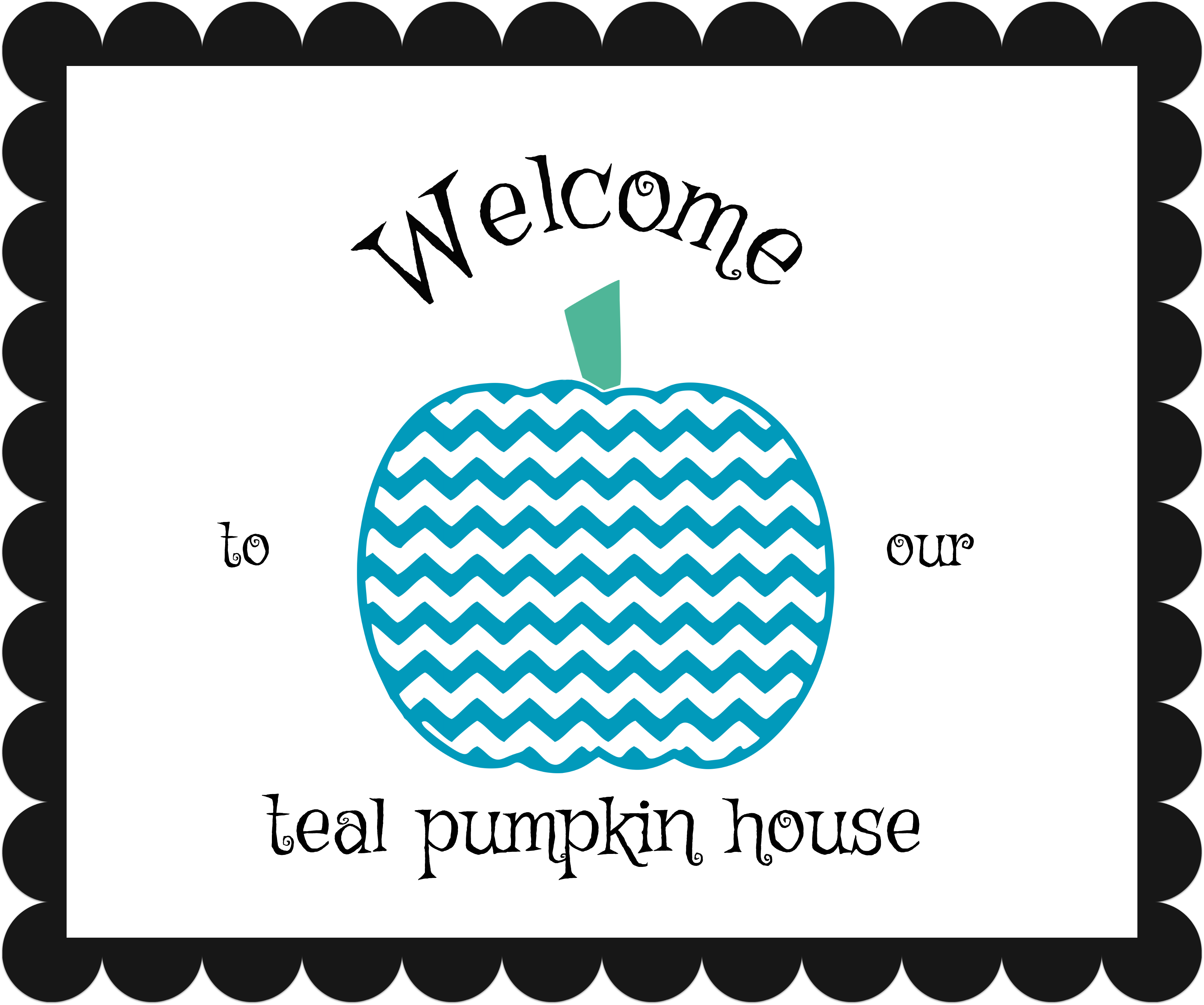 Teal pumpkin welcome sign for Halloween.