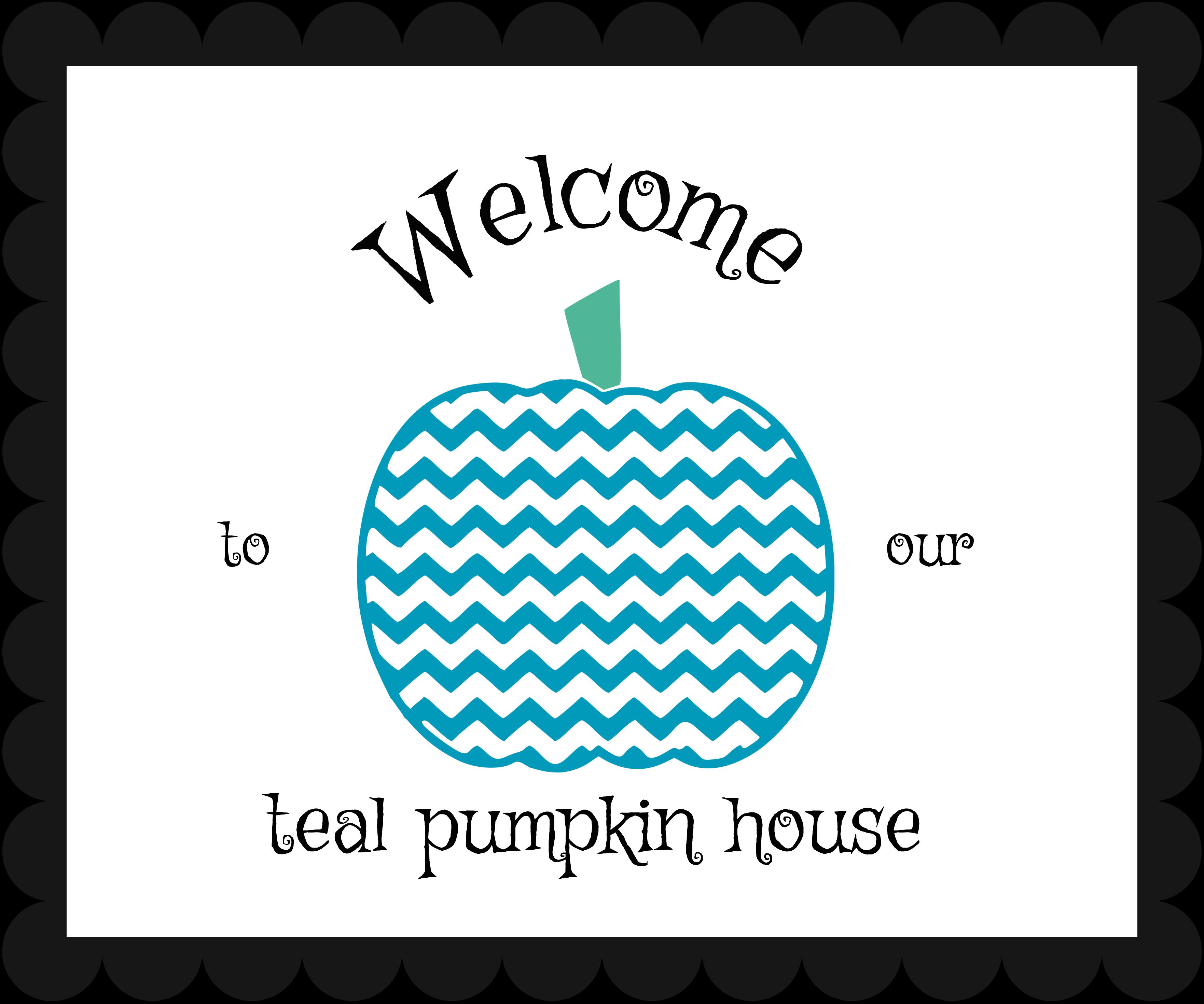 Teal pumpkin welcome sign for Halloween.