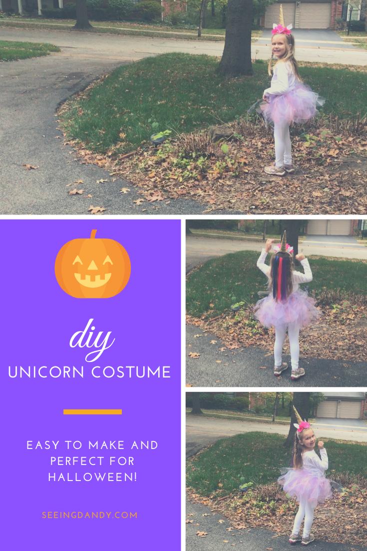Easy to make DIY girls unicorn costume.