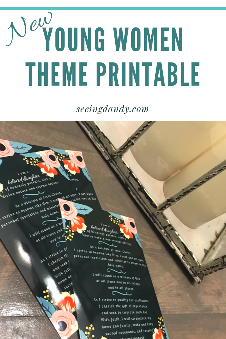 DIY Young Women Theme printable.