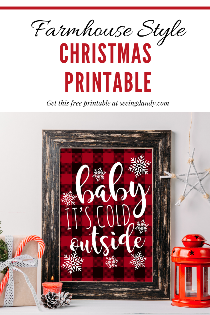 Easy DIY Farmhouse style buffalo check Christmas printable.