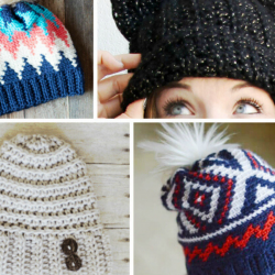 DIY crochet hats in chevron print and with buttons.