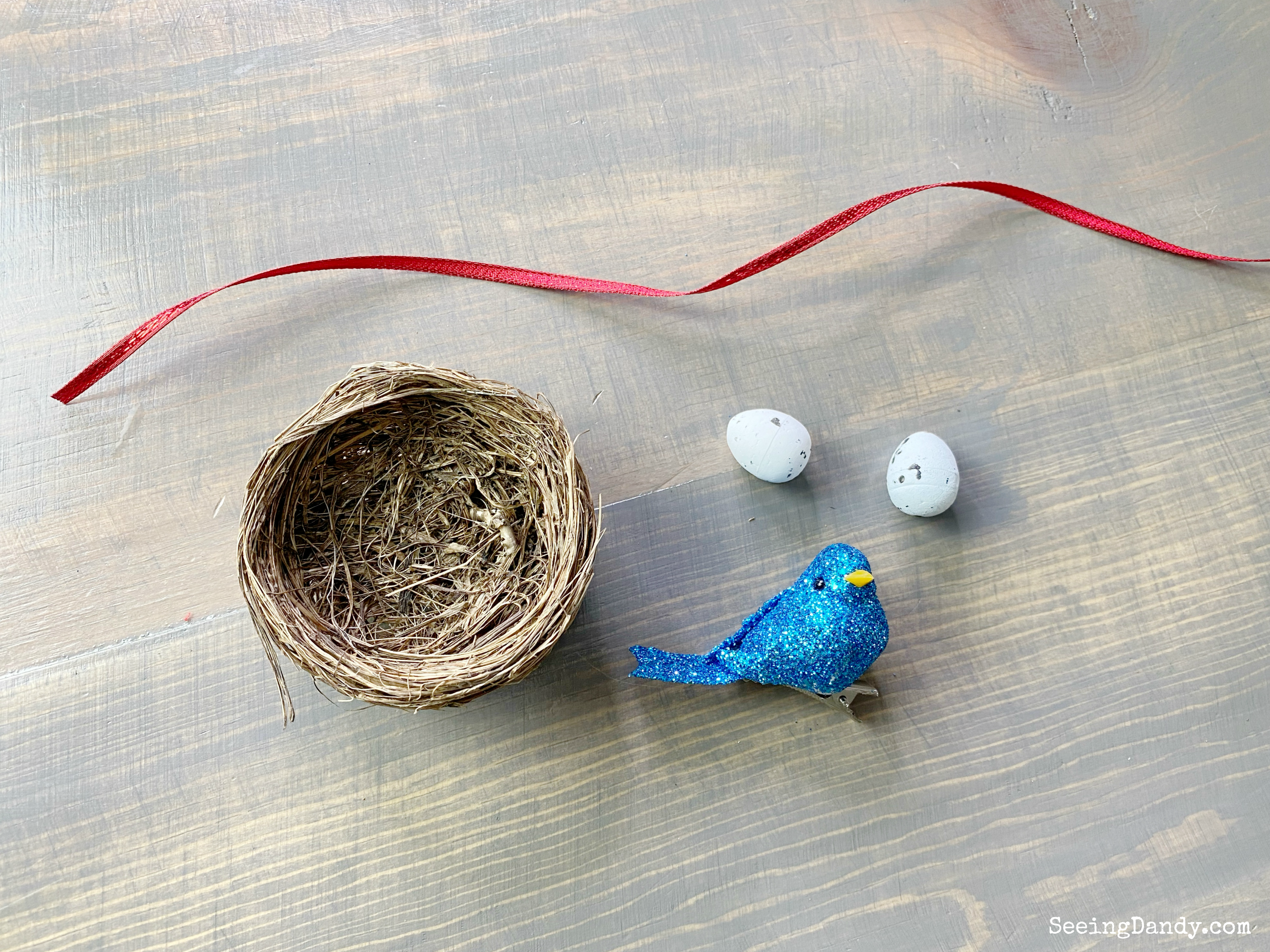 Craft materials for DIY bird nest ornament