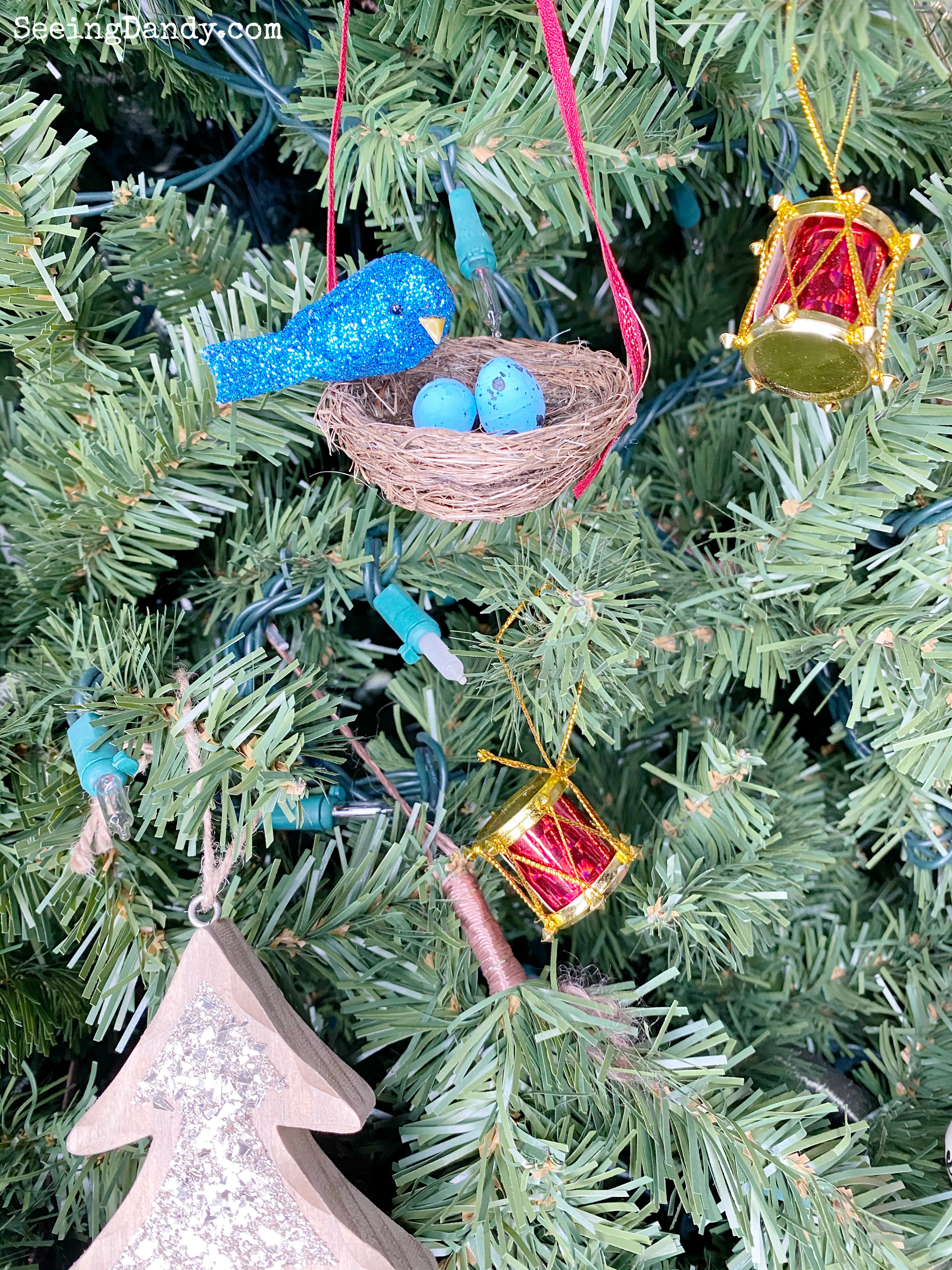 DIY bird nest Christmas tree ornament
