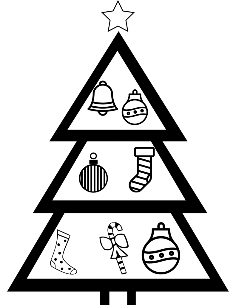 black and white silhouette christmas tree coloring page