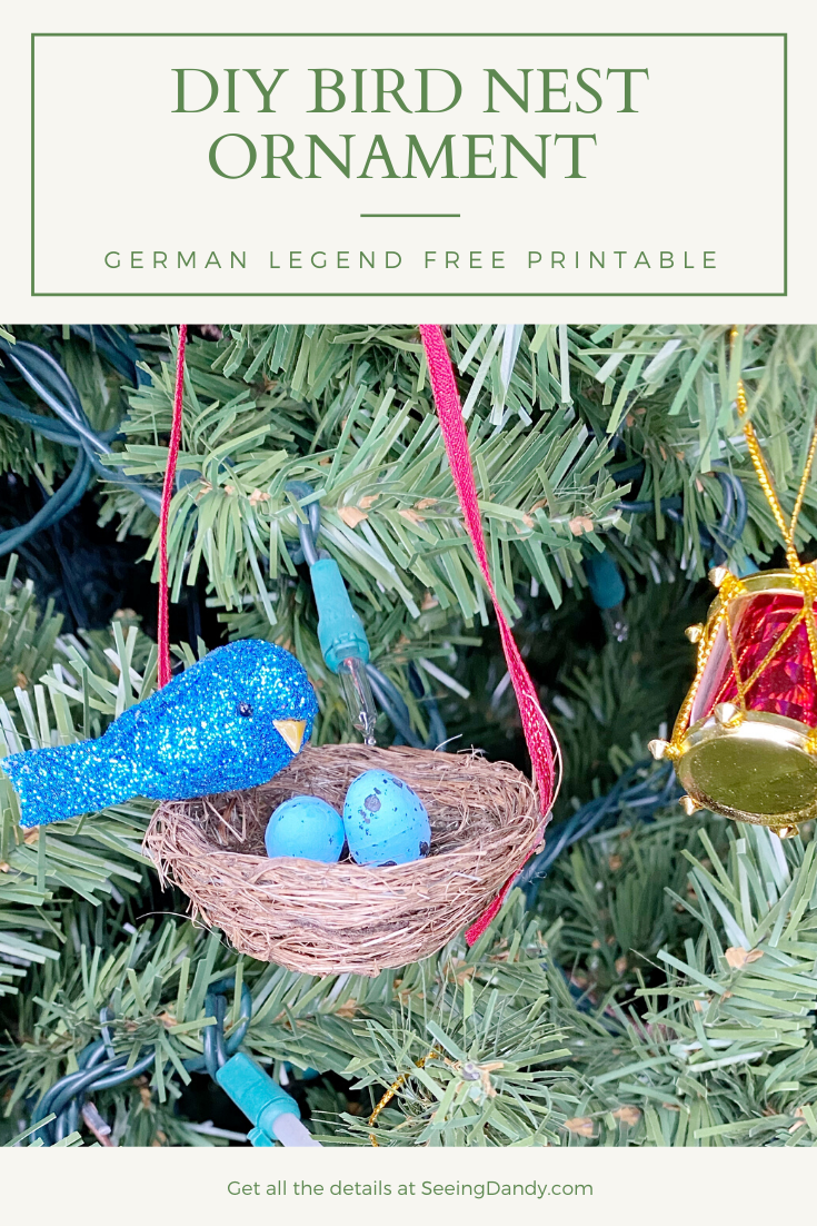 Easy DIY bird nest Christmas tree ornament German legend printable