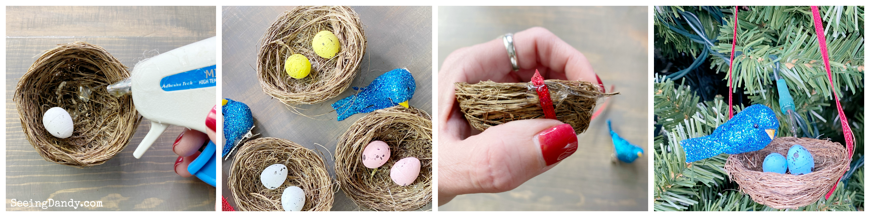 DIY bird nest Christmas tree ornament tutorial