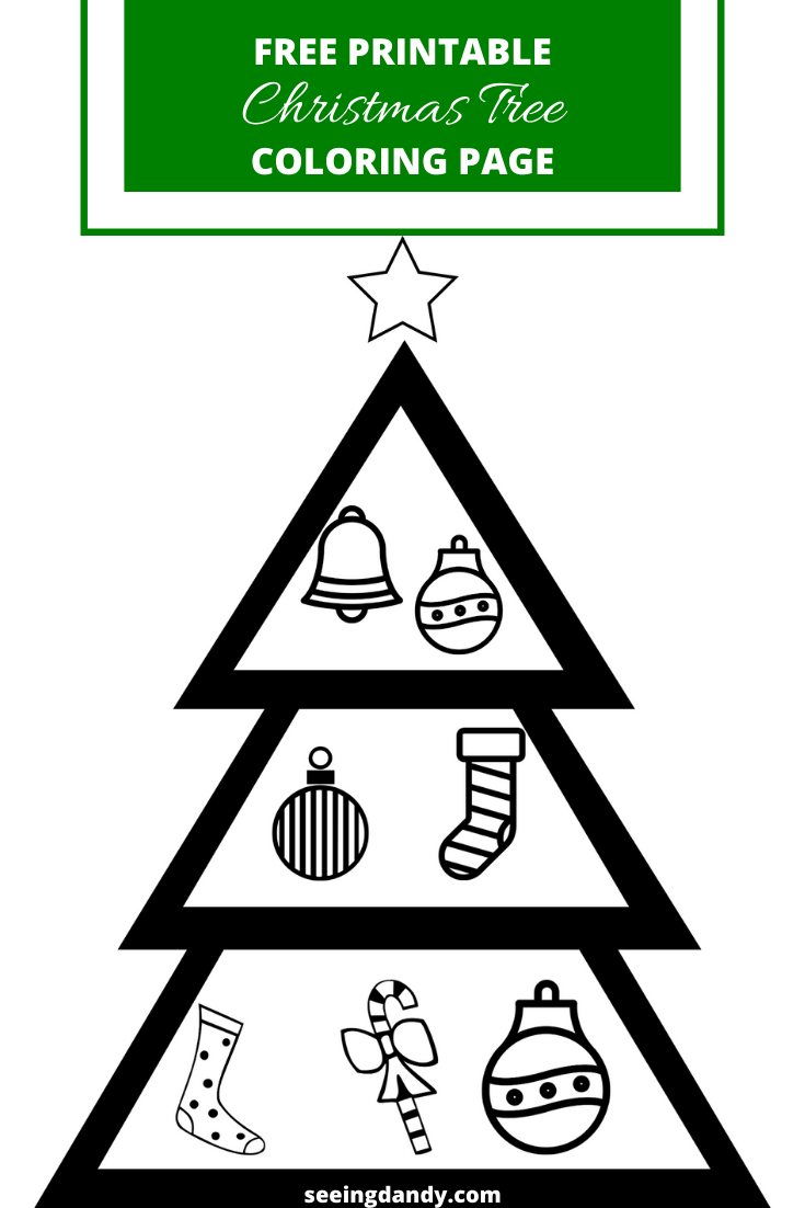 Easy DIY free printable Christmas tree coloring page for school holiday party