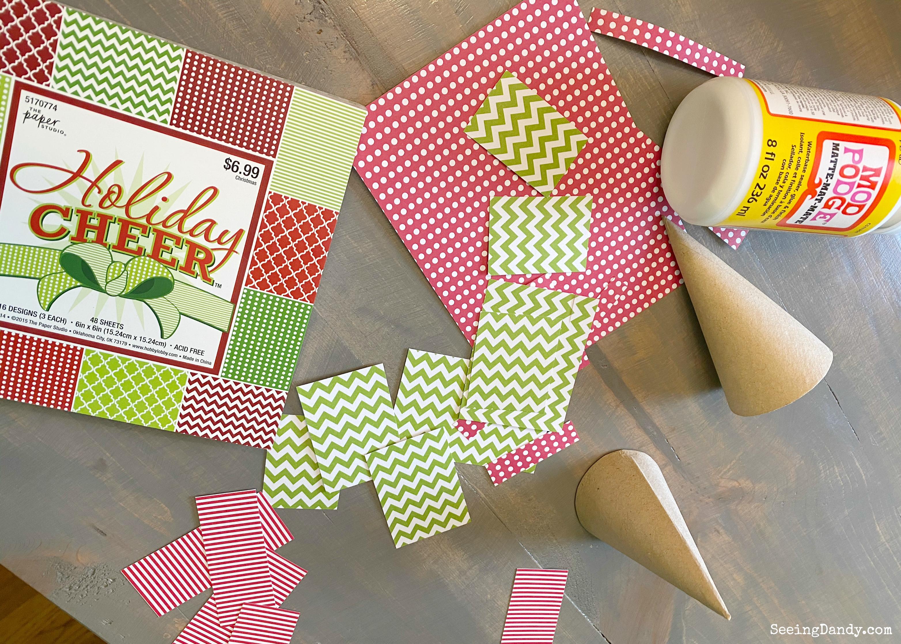 Christmas scrapbook paper Mod Podge cardboard Christmas trees